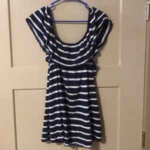 Navy and White Striped Off the Shoulder Blouse